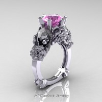 Love and Sorrow 14K White Gold 3.0 Ct Light Pink Sapphire Skull and Rose Solitaire Engagement Ring R713-14KWGLPS