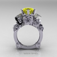 Love and Sorrow 14K White Gold 3.0 Ct Yellow Sapphire Skull and Rose Solitaire Engagement Ring R713-14KWGYSLove and Sorrow 14K White Gold 3.0 Ct Yellow Sapphire Skull and Rose Solitaire Engagement Ring R713-14KWGYS