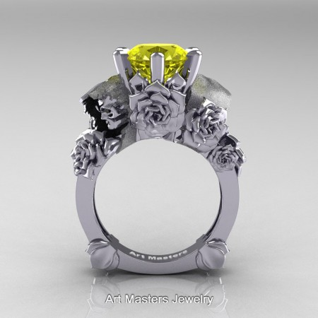 Love-and-Sorrow-14K-White-Gold-3-0-Ct-Yellow-Sapphire-Skull-and-Rose-Solitaire-Engagement-Ring-R713-14KWGYS-F