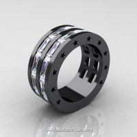 Mens Modern 14K Black Gold Baguette White Sapphire Channel Cluster Star Infinity Wedding Ring R784-14KBGWS