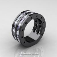 Mens Modern 14K Black Gold Baguette White Sapphire Channel Cluster Star Infinity Wedding Ring R784-14KBGWS