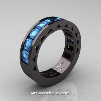 Mens Modern 14K Black Gold Princess Blue Topaz Channel Cluster Sun Wedding Ring R274-14BGBT