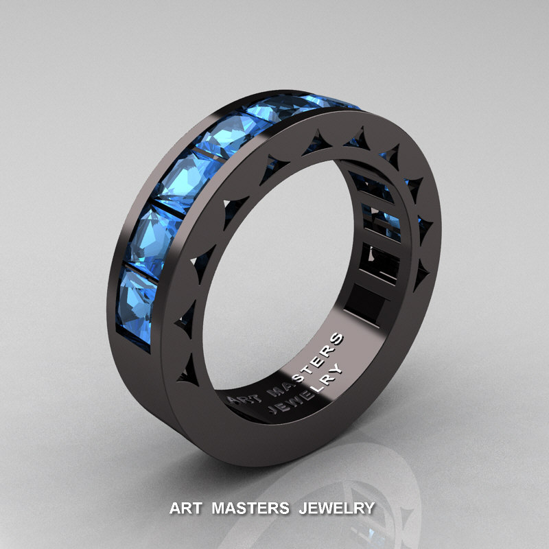 Mens Modern 14k Black Gold Princess Blue Topaz Channel Cluster Sun Wedding Ring R274