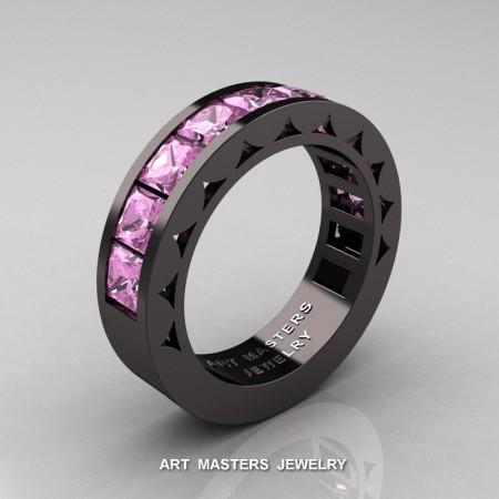Mens-Modern-14K-Black-Gold-Princess-Light-Pink-Sapphire-Channel-Cluster-Sun-Wedding-Band-R274-BGLPS-P