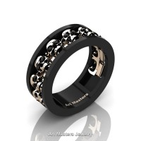 Mens Modern 14K Black and Rose Gold Black Diamond Skull Channel Cluster Wedding Ring R913-14KBRGBD