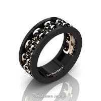 Mens Modern 14K Black and Rose Gold Black Diamond Skull Channel Cluster Wedding Ring R913-14KBRGBD