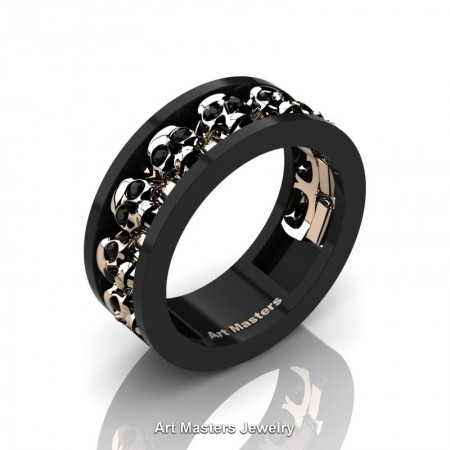 Mens-Modern-14K-Black-Rose-Gold-Black-Diamond-Skull-Cluster-Wedding-Ring-Ring-R913-14KBRGBD-P
