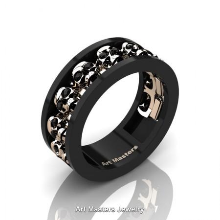 Mens-Modern-14K-Black-Rose-Gold-Black-Diamond-Skull-Cluster-Wedding-Ring-Ring-R913-14KBRGBD-P