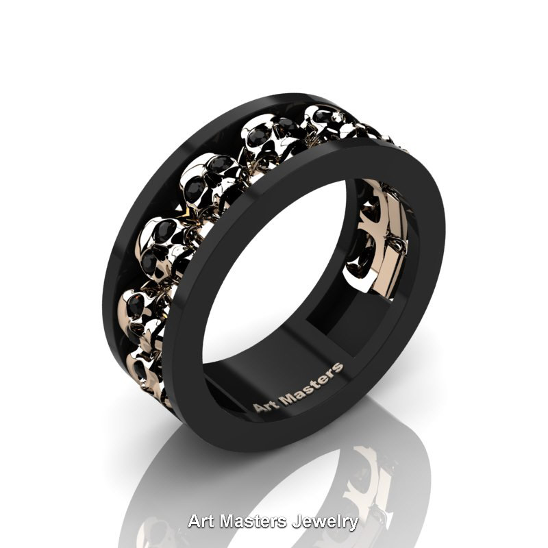 Black Diamond And Rose Gold Enement Rings | Mens Modern 14k Black And Rose Gold Black Diamond Skull Channel