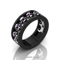Mens Modern 14K Black and White Gold Amethyst Skull Channel Cluster Wedding Ring R913-14KBWGAM