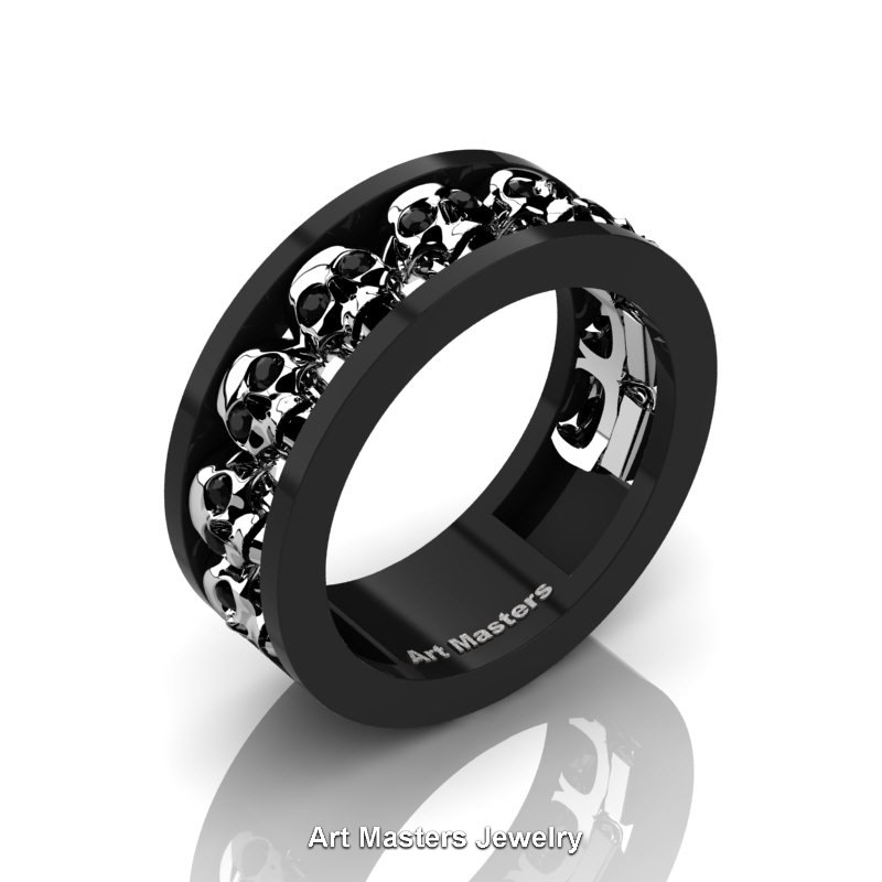 Mens Modern 14k Black And White Gold Black Diamond Skull Channel Cluster Wedding Ring R913 14kbwgbd
