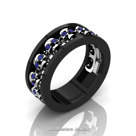 Mens-Modern-14K-Black-White-Gold-Blue-Sapphire-Skull-Cluster-Wedding-Ring-Ring-R913-14KBWGBS-P