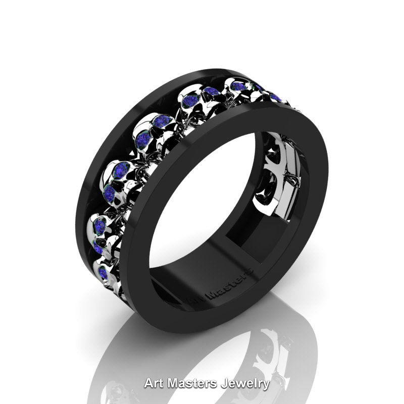 Mens Modern 14k Black And White Gold Blue Sapphire Skull Channel