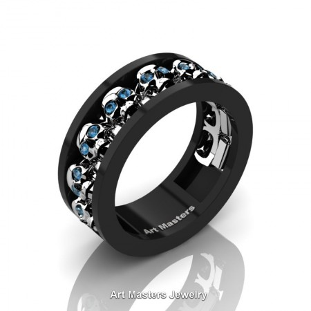 Mens-Modern-14K-Black-White-Gold-Blue-Topaz-Skull-Cluster-Wedding-Ring-Ring-R913-14KBWGBT-P