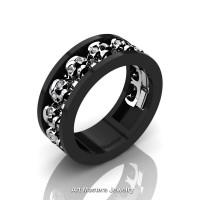 Mens Modern 14K Black and White Gold Diamond Skull Channel Cluster Wedding Ring R913-14KBWGD