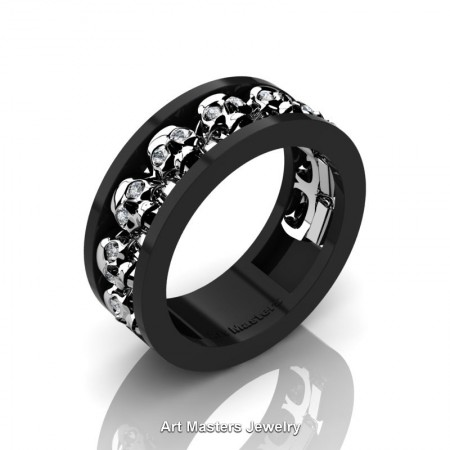 Mens-Modern-14K-Black-White-Gold-Diamond-Skull-Cluster-Wedding-Ring-Ring-R913-14KBWGD-P