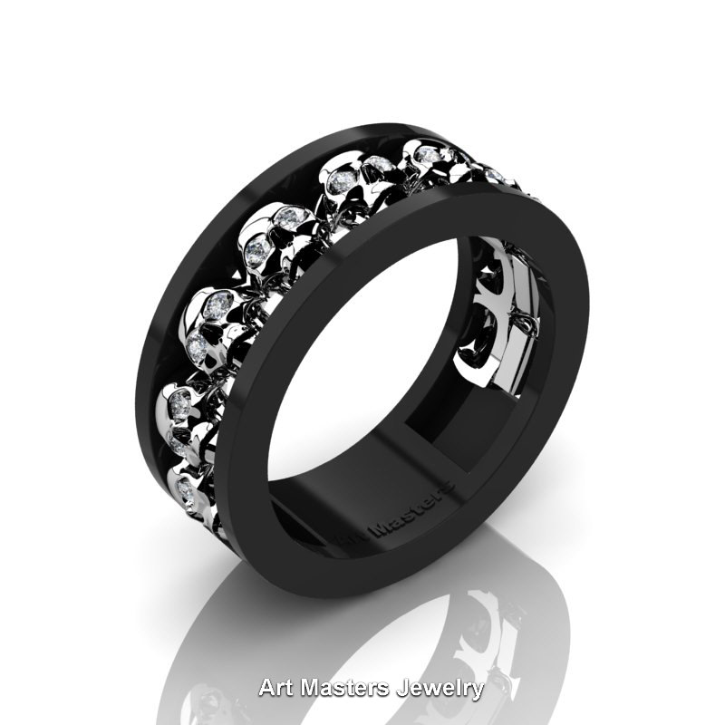 Mens Modern 14k Black White Gold Diamond Skull