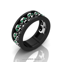 Mens Modern 14K Black and White Gold Emerald Skull Channel Cluster Wedding Ring R913-14KBWGEM
