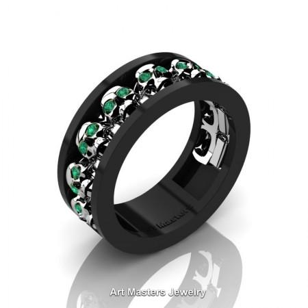 Mens-Modern-14K-Black-White-Gold-Emerald-Skull-Cluster-Wedding-Ring-Ring-R913-14KBWGEM-P