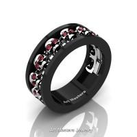 Mens Modern 14K Black and White Gold Ruby Skull Channel Cluster Wedding Ring R913-14KBWGR