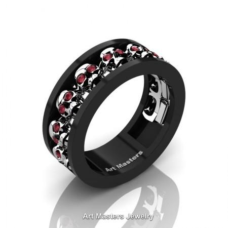 Mens-Modern-14K-Black-White-Gold-Rubies-Skull-Cluster-Wedding-Ring-Ring-R913-14KBWGBR-P