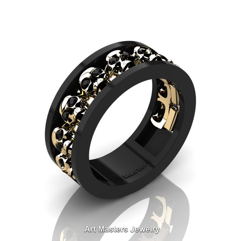 Mens Wedding Rings.Mens Modern 14k Black And Yellow Gold Black Onyx Skull Channel Cluster Wedding Ring R913 14kbygyx