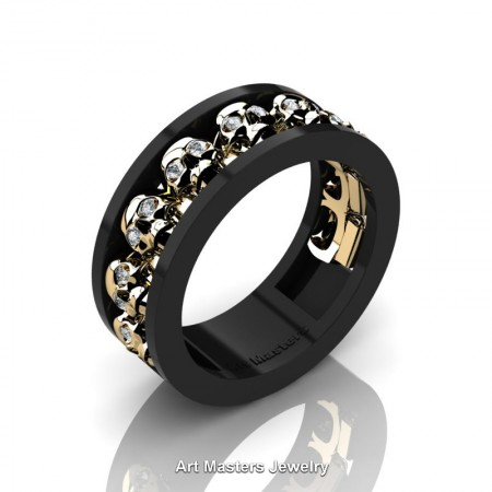 Mens-Modern-14K-Black-Yellow-Gold-Diamond-Skull-Cluster-Wedding-Ring-Ring-R913-14KBYGD-P