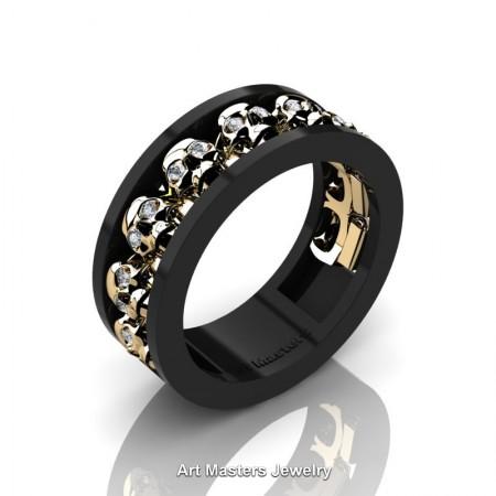 Mens-Modern-14K-Black-Yellow-Gold-Diamond-Skull-Cluster-Wedding-Ring-Ring-R913-14KBYGD-P