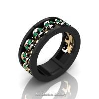 Mens Modern 14K Black and Yellow Gold Emerald Skull Channel Cluster Wedding Ring R913-14KBYGEM