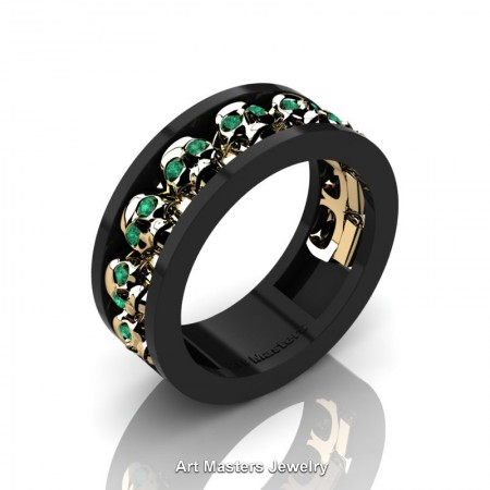 Mens-Modern-14K-Black-Yellow-Gold-Emerald-Skull-Cluster-Wedding-Ring-Ring-R913-14KBYGEM-P