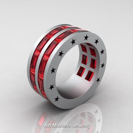 Mens-Modern-14K-Grey-Gold-Baguette-Rubies-Channel-Cluster-Star-Infinity-Wedding-Band-R784-14KGGR-P