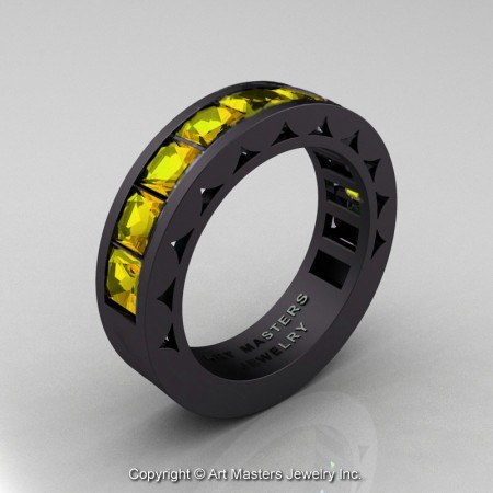 Mens-Modern-14K-Matte-Black-Gold-Princess-Yellow-Sapphire-Channel-Cluster-Sun-Wedding-Band-R274-MBGYS-P