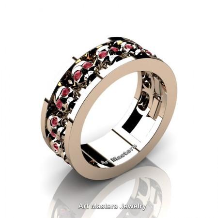 Mens-Modern-14K-Rose-Gold-Ruby-Skull-Cluster-Wedding-Ring-Ring-R913-14KRGR-P
