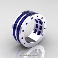 Mens Modern 14K White Gold Baguette Blue Sapphire Channel Cluster Star Infinity Wedding Ring R784-14KWGBS