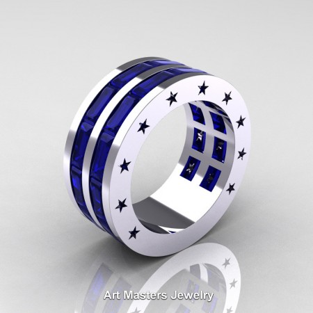 Mens-Modern-14K-White-Gold-Baguette-Blue-Sapphire-Channel-Cluster-Star-Infinity-Wedding-Band-R784-14KWGBS-P