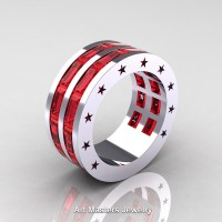 Mens Modern 14K White Gold Baguette Rubies Channel Cluster Star Infinity Wedding Ring R784-14KWGR