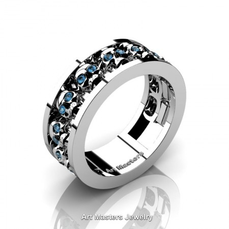 Mens-Modern-14K-White-Gold-Blue-Topaz-Skull-Cluster-Wedding-Ring-Ring-R913-14KWGBT-P