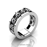 Mens Modern 14K White Gold Diamond Skull Channel Cluster Wedding Ring R913-14KWGD