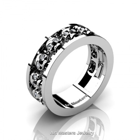 Mens-Modern-14K-White-Gold-Diamond-Skull-Cluster-Wedding-Ring-Ring-R913-14KWGD-P