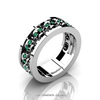 Mens Modern 14K White Gold Emerald Skull Channel Cluster Wedding Ring R913-14KWGEM