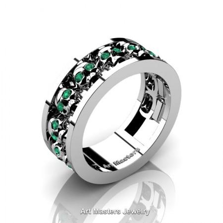 Mens-Modern-14K-White-Gold-Emerald-Skull-Cluster-Wedding-Ring-Ring-R913-14KWGEM-P
