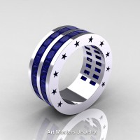 Mens Modern 14K White Gold Princess Blue Sapphire Channel Cluster Star Infinity Wedding Ring R784P-14KWGBS