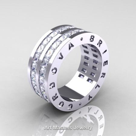 Mens-Modern-14K-White-Gold-Princess-White-Sapphire-Channel-Cluster-Infinity-Wedding-Band-R774P-14KWGWS-P
