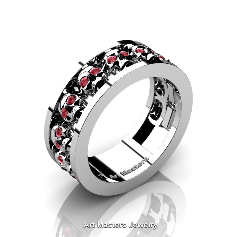 mens modern 14k white gold ruby skull channel cluster wedding ring