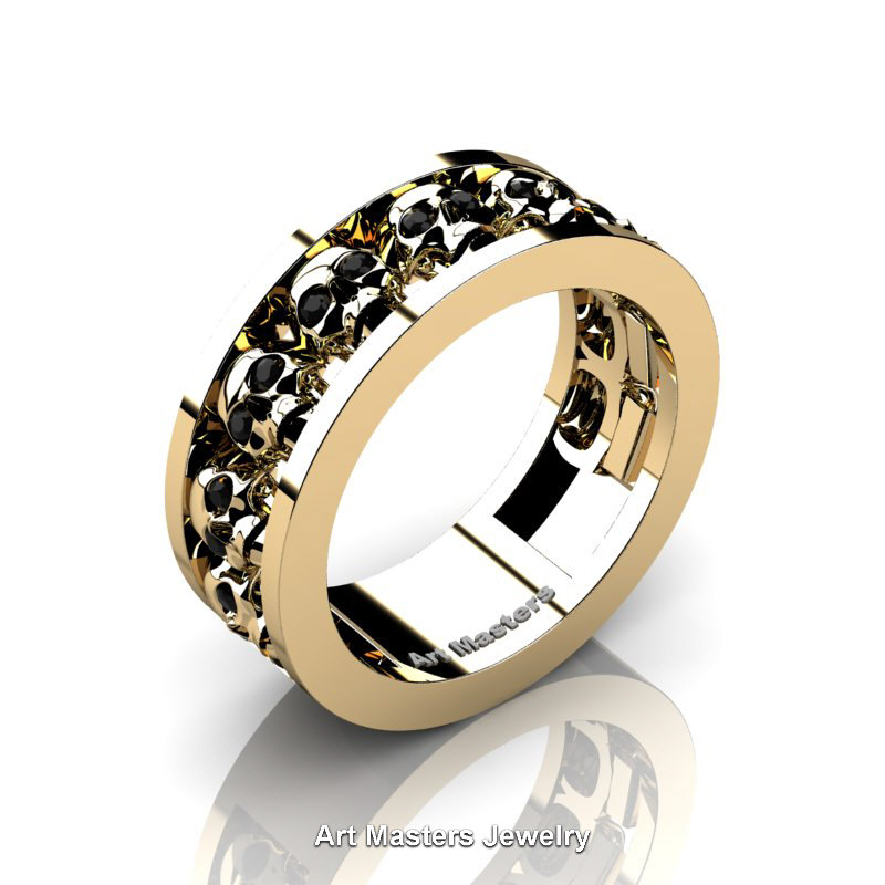 Mens Modern 14k Yellow Gold Black Diamond Skull Channel