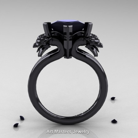 Modern-Scandinavian-14K-Black-Gold-3-Carat-Black-Diamond-Dragon-Engagement-Ring-R902-14KBGBD-F