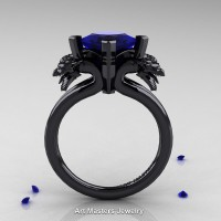 Scandinavian 14K Black Gold 2.0 Carat Princess Blue Sapphire Dragon Engagement Ring R902-14KBGBS
