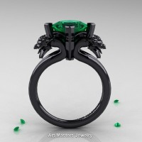 Scandinavian 14K Black Gold 2.0 Carat Princess Emerald Dragon Engagement Ring R902-14KBGEM
