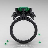 Scandinavian 14K Black Gold 2.0 Carat Princess Emerald Dragon Engagement Ring R902-14KBGEM
