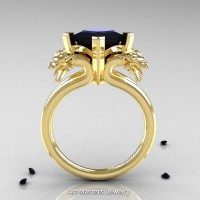 Scandinavian 14K Yellow Gold 2.0 Carat Princess Black Diamond Dragon Engagement Ring R902-14KYGBD
